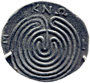 Silver Tetradrachm: Labyrinth in Knossos by Peter Roan, on Flickr (modified). Licensed under CC by NC 2.0
